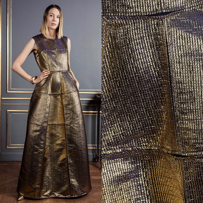 Floor-length gold with blue lining dress
