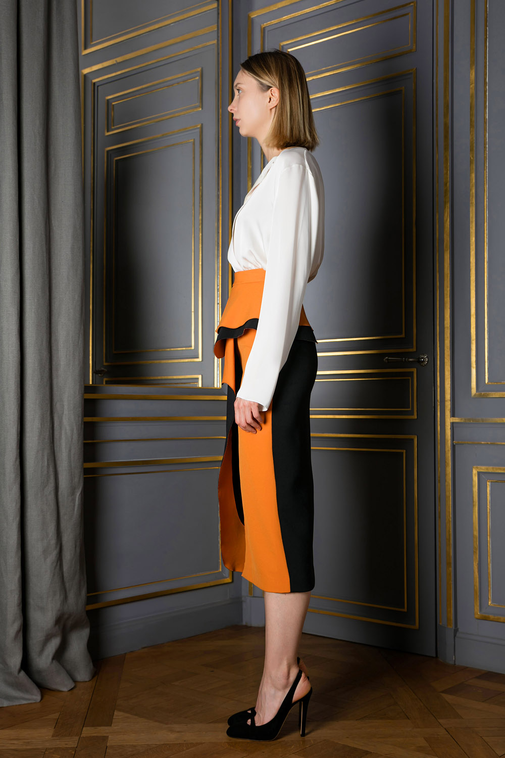 Orange and black straight skirt