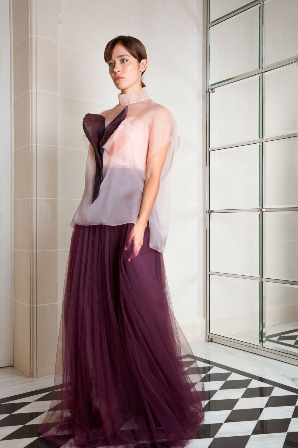 Deep burgundy pleated tulle maxi skirt