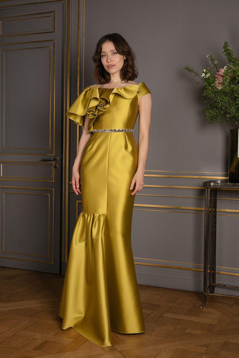 Bronze floor-length silk sheath gown with ruffle and crystal details
