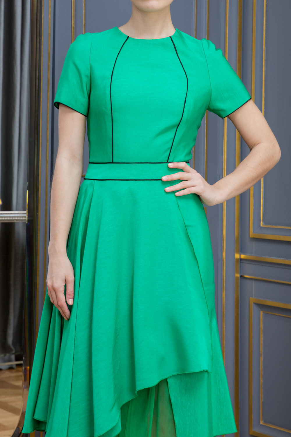 Kelly Green fit and flare dress with bodice piping, ruffled skirt and petticoat