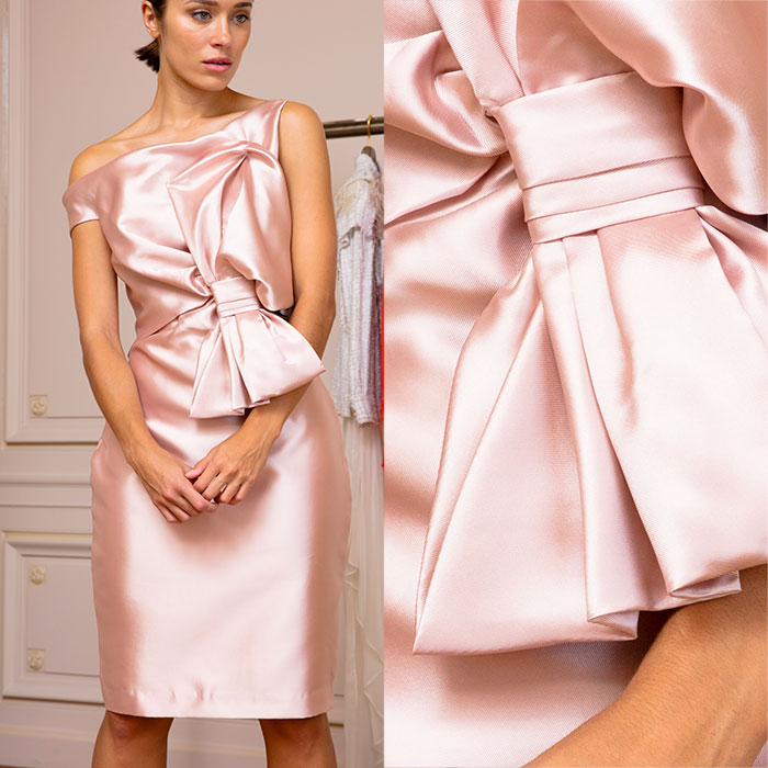 Ballet-slipper pink duchesse satin cocktail dress
