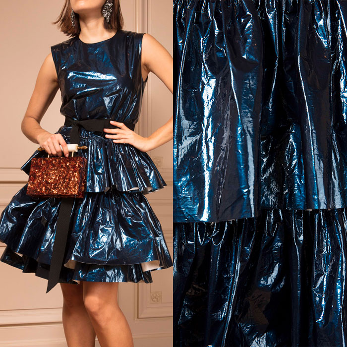 Navy metallic ruffled dress