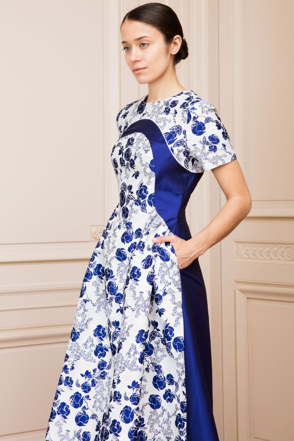 Floral print fit-and-flare frock superposed over sapphire blue silk