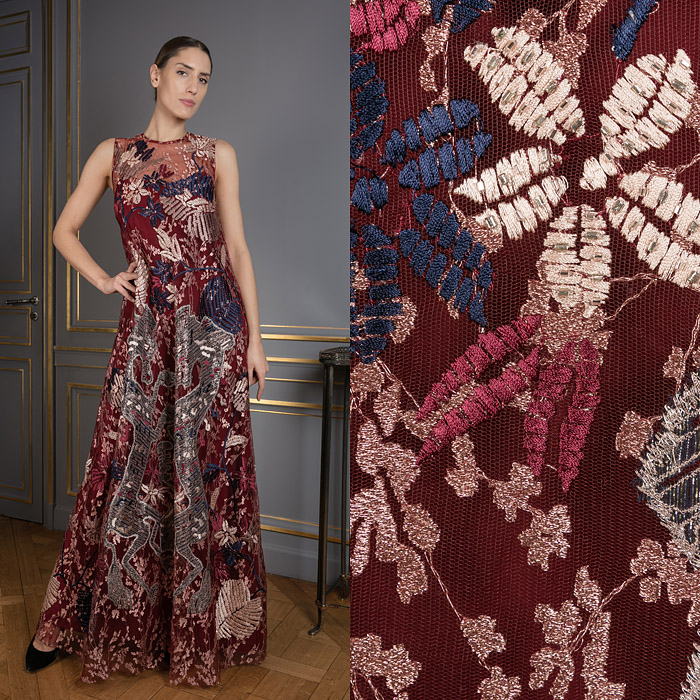 Burgundy Mozaic Embroidered Tulle Sleeveless Long Dress