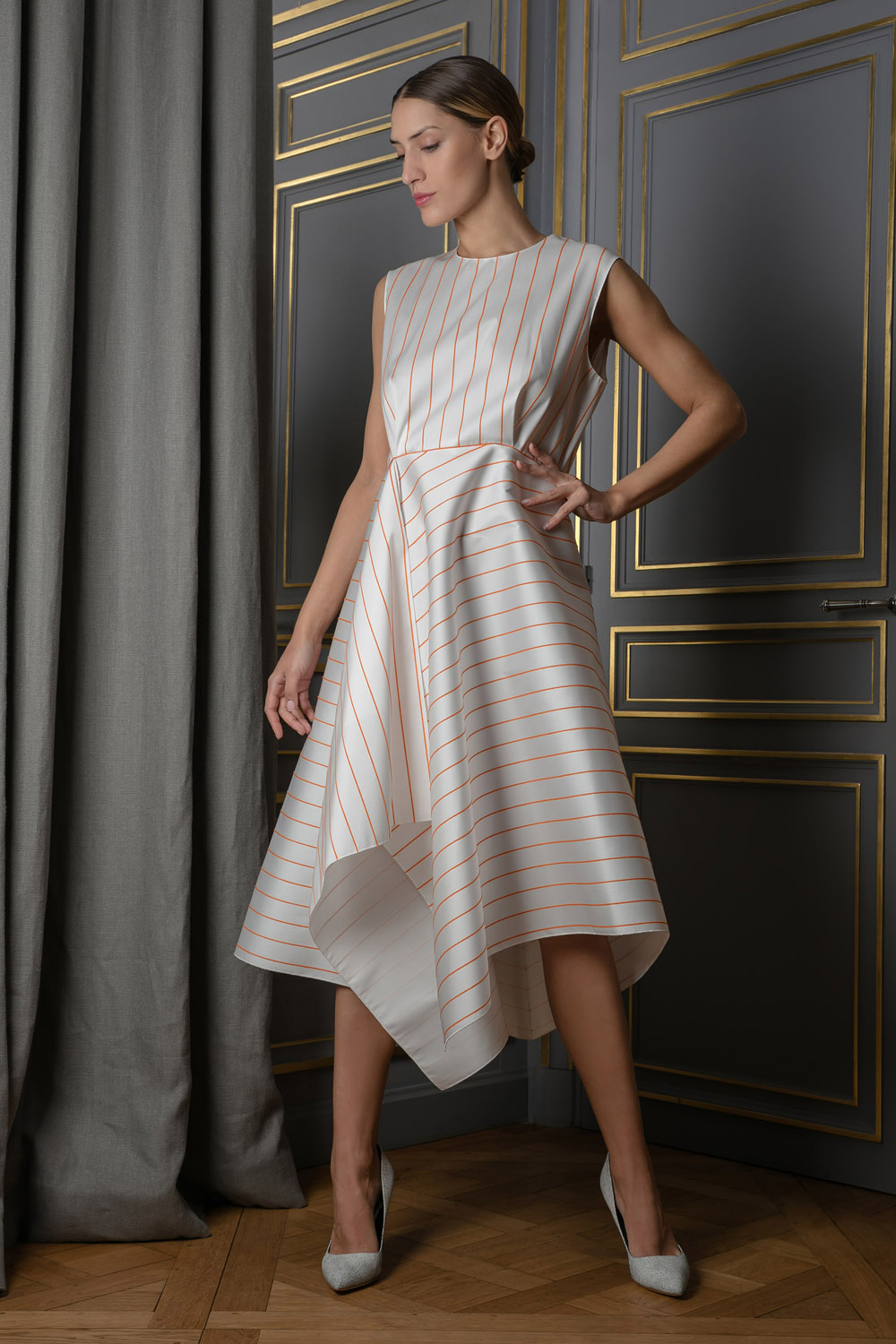 A-line dress with an asymmetrical hemline