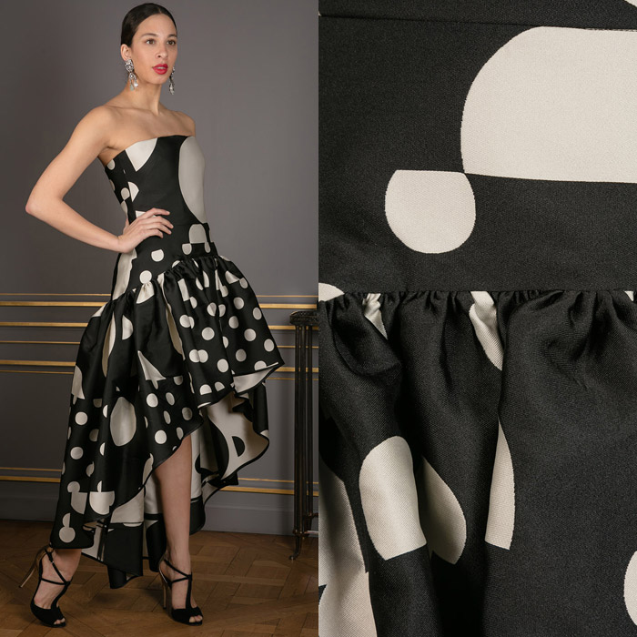 Polka dot print black with white gown